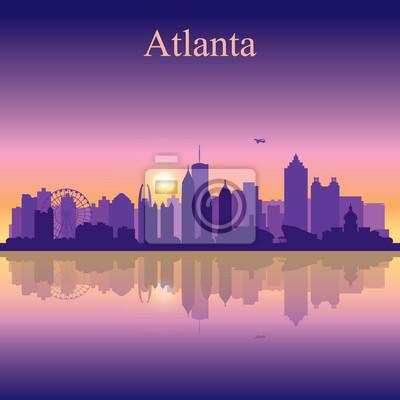 Atlanta Silhouette auf Sonnenuntergang Hintergrund