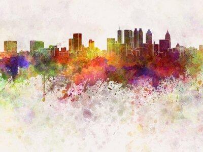 Atlanta Skyline in Aquarell-Hintergrund