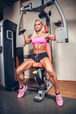 Poster attraktive Frau in der Gymnastik auf Trainingsmaschine