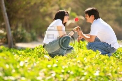 attraktive junge Junge, schöne Rose zu seiner hübschen Girlfri