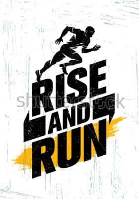 Poster Aufstieg und laufen. Marathon-Sportereignis-Motivations-Zitat-Plakat-Konzept. Aktive Lebensstil-Typografie-Illustration auf Schmutz-Hintergrund mit Beschaffenheit