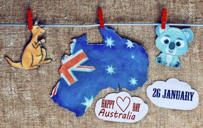 Poster Australien Tag Konzept - Gruß über weiße australische Karten, Kängurus und Koala - hängende Stöpsel (Wäscheklammer), 26 Januar. Getönten Bild. Sonnenlicht-Effekt