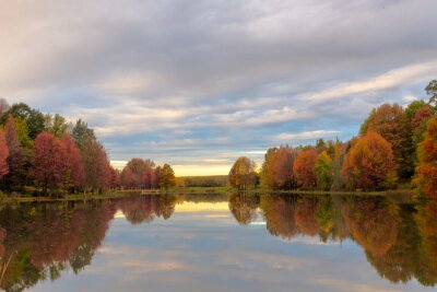 Autumn colored trees reflection on water before sunrise