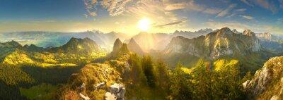 Poster Autumn mountains at sunrise in Switzerland