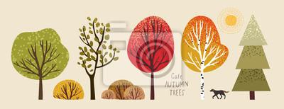 Poster autumn trees, set of vector illustrations of cute trees and shrubs: oak, birch, aspen, linden, fir, sun and dog