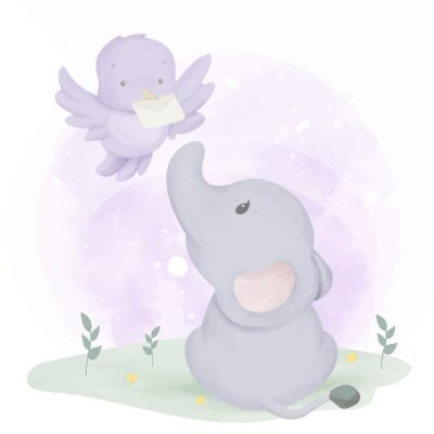 Poster Baby Elephant Get Mail From Bird