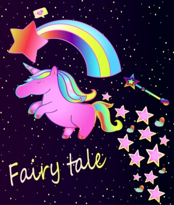 Poster Babyplakat-nettes rosa Einhorn mit Regenbogen auf einem schönen Steigungshintergrund mit Sternen und Herzen