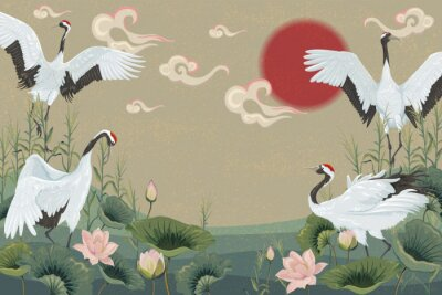 Poster background with japanese cranes at sunset