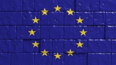 Poster Backsteinmauer mit gemalten Flagge der Europäischen Union
