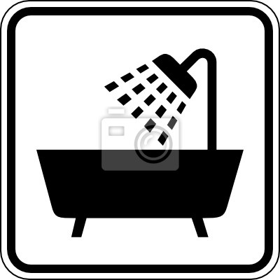 Badezimmer dusche badewanne schild zeichen symbol wandposter ...