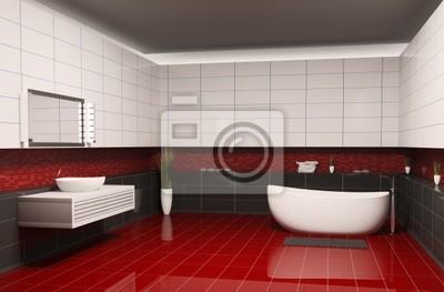 Badezimmer mit dem roten boden 3d wandposter • poster ...