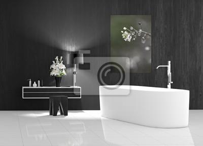 Badezimmer Modern Mit Badewanne Freistehend Wandposter Poster