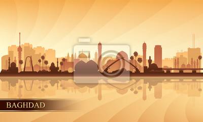 Bagdad-Stadt-Skyline-Schattenbildhintergrund