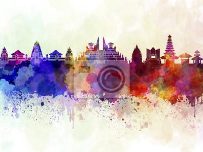 Bali Skyline in Aquarell Hintergrund