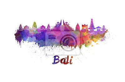 Bali Skyline in Wasserfarbe