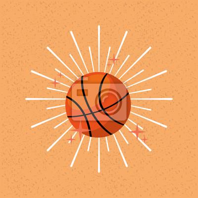 Poster Ball Sport Basketball Sunburst Farbe Hintergrund Vektor-Illustration