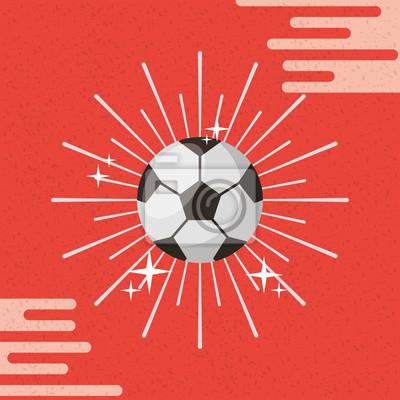 Poster Ball Sport Fußball Sunburst Farbe Hintergrund Vektor-Illustration