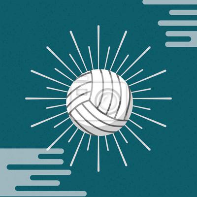 Poster Ball Sport Volleyball Sunburst Farbe Hintergrund Vektor-Illustration