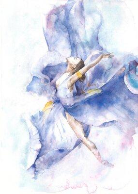 Poster Ballerina Tanzen Aquarell Malerei isoliert auf weißem Hintergrund Grußkarte