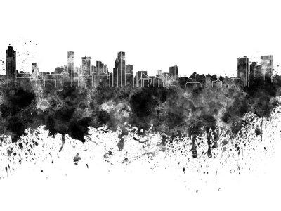 Baltimore Skyline in schwarzem Aquarell auf weißem Hintergrund