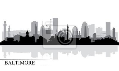 Baltimore Stadt Skyline Silhouette Hintergrund