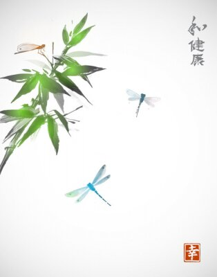 Poster Bambus-Zweig und drei Libellen