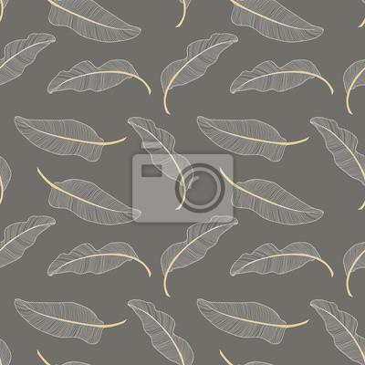 Poster Bananenblätter. Nahtlose Muster Hintergrund. Zusammensetzung auf einem grauen Hintergrund.