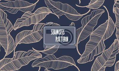 Poster Bananenblätter. Nahtlose Muster Hintergrund. Zusammensetzung Nahtlose exotische Muster mit tropischen Blättern auf einem dunkelblauen Hintergrund. Vektor Hand gezeichnet Illustration.