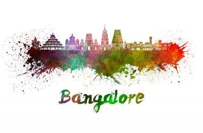 Bangalore skyline in watercolor