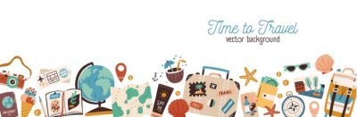 Poster Banner with traveling and tourism elements. Colorful touristic objects like backpack, suitcase, map and globe and place for text. Summer holiday background. Colored flat vector illustration