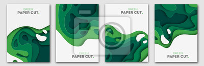 Poster Banners set 3D abstract background, green paper cut shapes. Vector design layout for business presentations, flyers, posters and invitations. Carving art, environment and ecology elements
