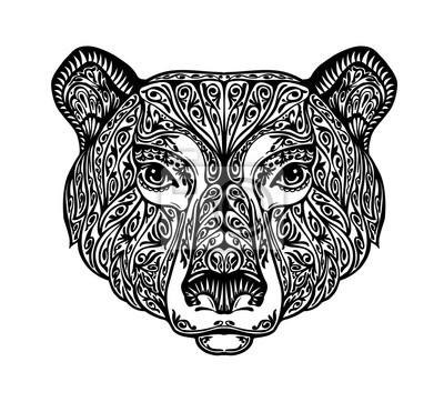 Bär Grizzly Oder Tier Gemalte Stammes Ethnische Verzierung