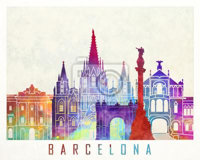 Barcelona Sehenswürdigkeiten Aquarell Poster