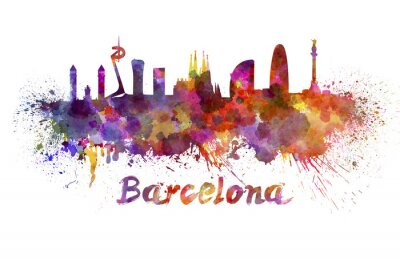 Barcelona Skyline in Aquarell