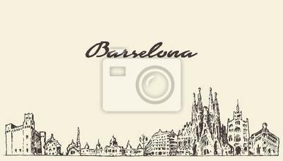 Barcelona Spanien Vintage Hand gezeichnete Skizze