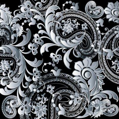 poster barock damast schwarz floral vector nahtlose muster tapeten illustration mit vintage antiken dekorativen weien 3d - Muster Tapeten