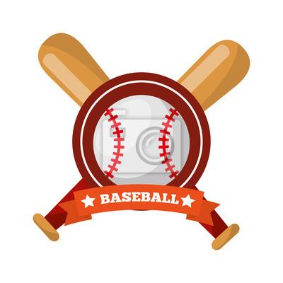 Poster Baseball Ball Fledermäuse gekreuzten Spiel Sport Emblem Vektor-Illustration