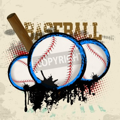 Poster Baseballs and baseball bat on vintage grunge background
