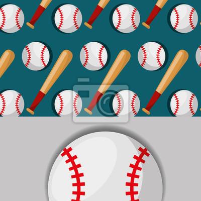 Poster Baseballschläger und Ball Sport Wettbewerb Muster Vektor-Illustration