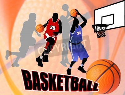 Poster Basketball action players on beautiful abstract background. Classical basketball poster illustration