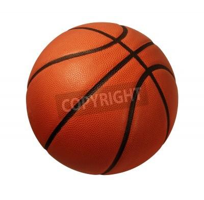 Poster Basketball auf einem weißen Hintergrund als Sport- und Fitness Symbol eines Teams liesure Aktivität spielt mit einem Lederball Dribbeln und Weitergabe in Wettbewerb Turniere