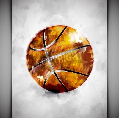 Poster Basketball Ball in Aquarell-Stil