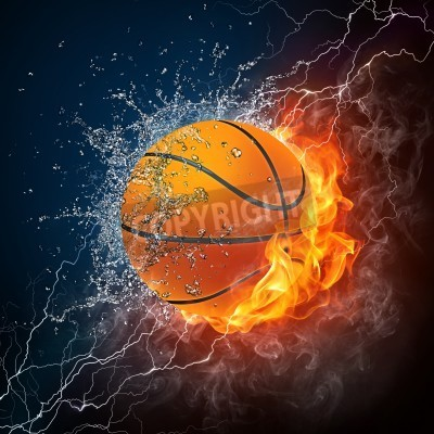 Poster Basketball Ball on Fire and Water. 2D Graphics. Computer Design.