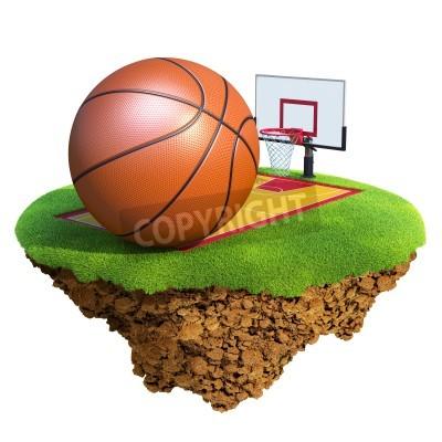 Poster Basketball Ball, Rückwand, Hoop und Gericht basierend auf little Planet. Konzept für Basketball Team oder Wettbewerb. Kleine Insel / Planet-Sammlung.