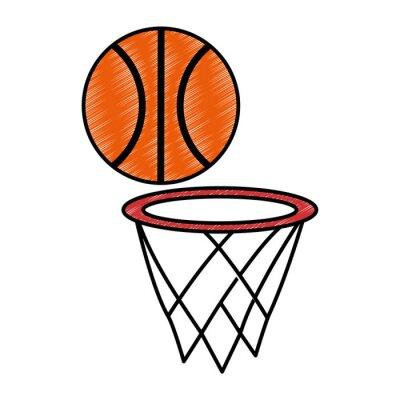 Poster basketball balloon with basket sport vector illustration design