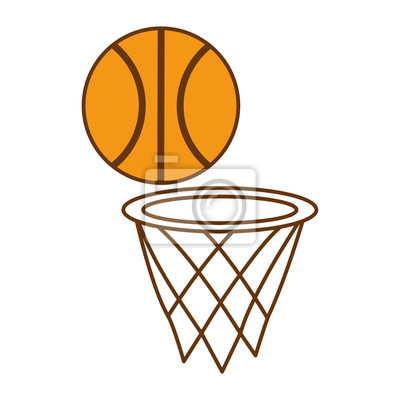 Poster basketball balloon with basket sport vector illustration design