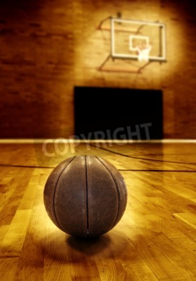 Poster Basketball on wooden floor of old basketball court