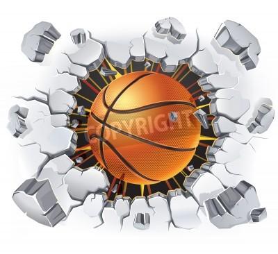 Poster Basketball und alten Putz Wand Schäden illustration