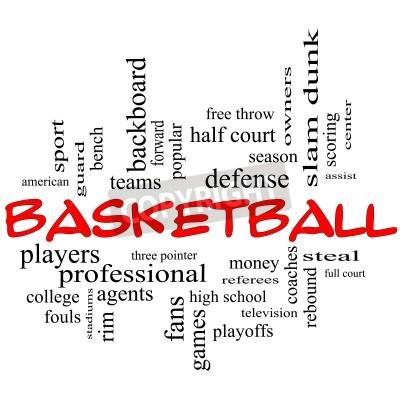 Poster Basketball Word Wolke Konzept in roten Kappen mit großen Begriffen wie Wache, stehlen, Zugstufe, slam dunk, Mitte, zu unterstützen, Spiele und vieles mehr.