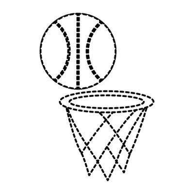 Poster Basketballballon mit Korbsportvektor-Illustrationsdesign